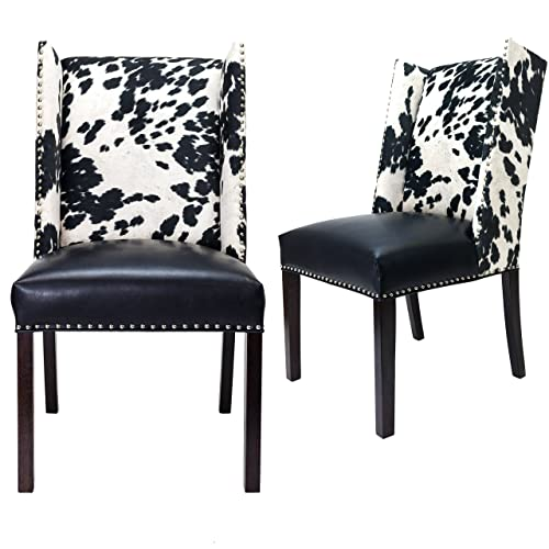 Sole Designs Rexford Faux Cowhide Leather and Fabric Upholstered Dining Side Chair, Nailhead Trim, Set of 2 Chairs, Black/white