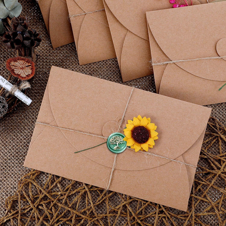 Comprenant Perles de Sceau Cire Octogone Bougies en cire /à cacheter Kit de Joint de Cire STYLO Marqueur ET Fleur s/éch/ée Cuill/ère de fonte de cire Enveloppes Vintage R/échauffeur de sceau de cire