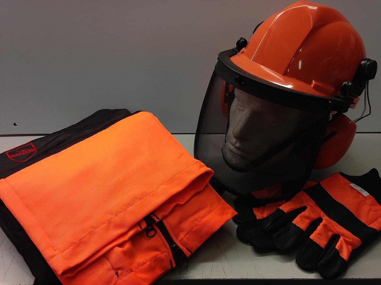 Tron/çonneuse kit de s/écurit/é/ /Type A Pantalon//Chaps DE Grande Gants et casque avec sangle de menton
