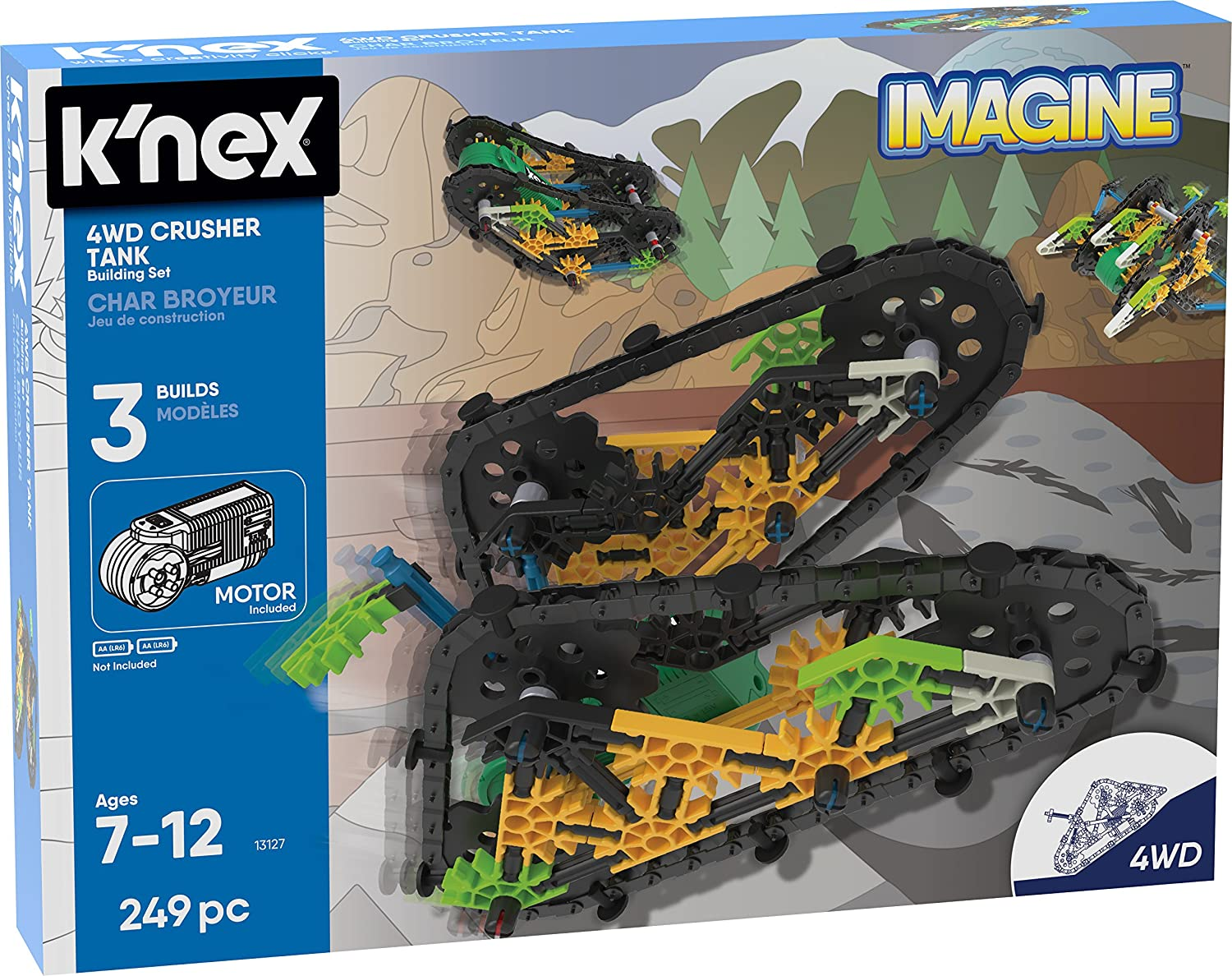K'NEX 13127 Imagine, 4WD Crusher Tank Building Set, Ages 7+, Engineering Educational Toy, 249 Pieces K'NEX 13127 Imagine