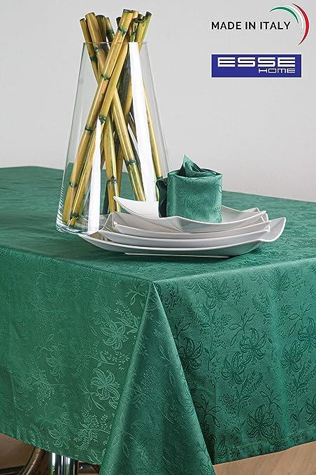 Esse Home - Confestyl - Mantel con 6 servilletas (servicio de mesa) - Rectangular - Fiandra Jacquard Puro Algodón - Made in Italy - Producto artesanal - Iris 598 (150 x 180 cm) - Servicio verde oscuro: Amazon.es: Hogar
