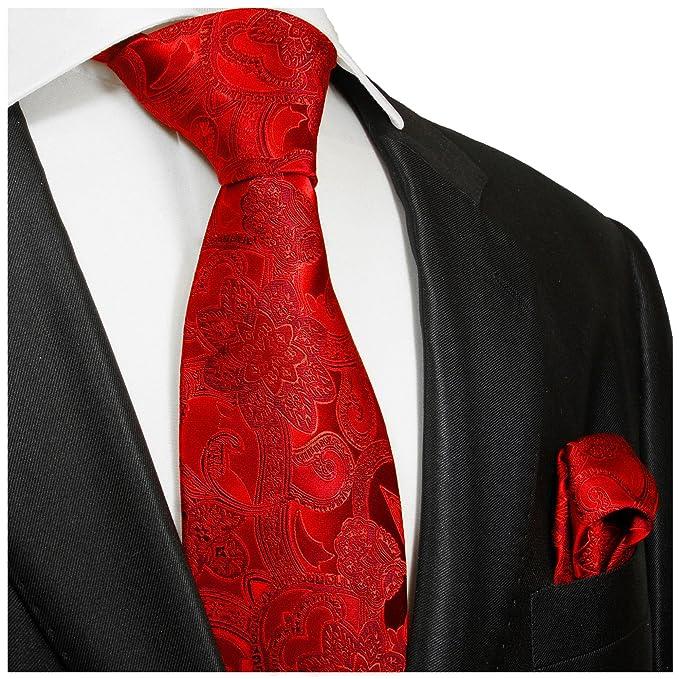P.M. Krawatten Paul Malone Corbata de seda burdeos rojo paisley + ...