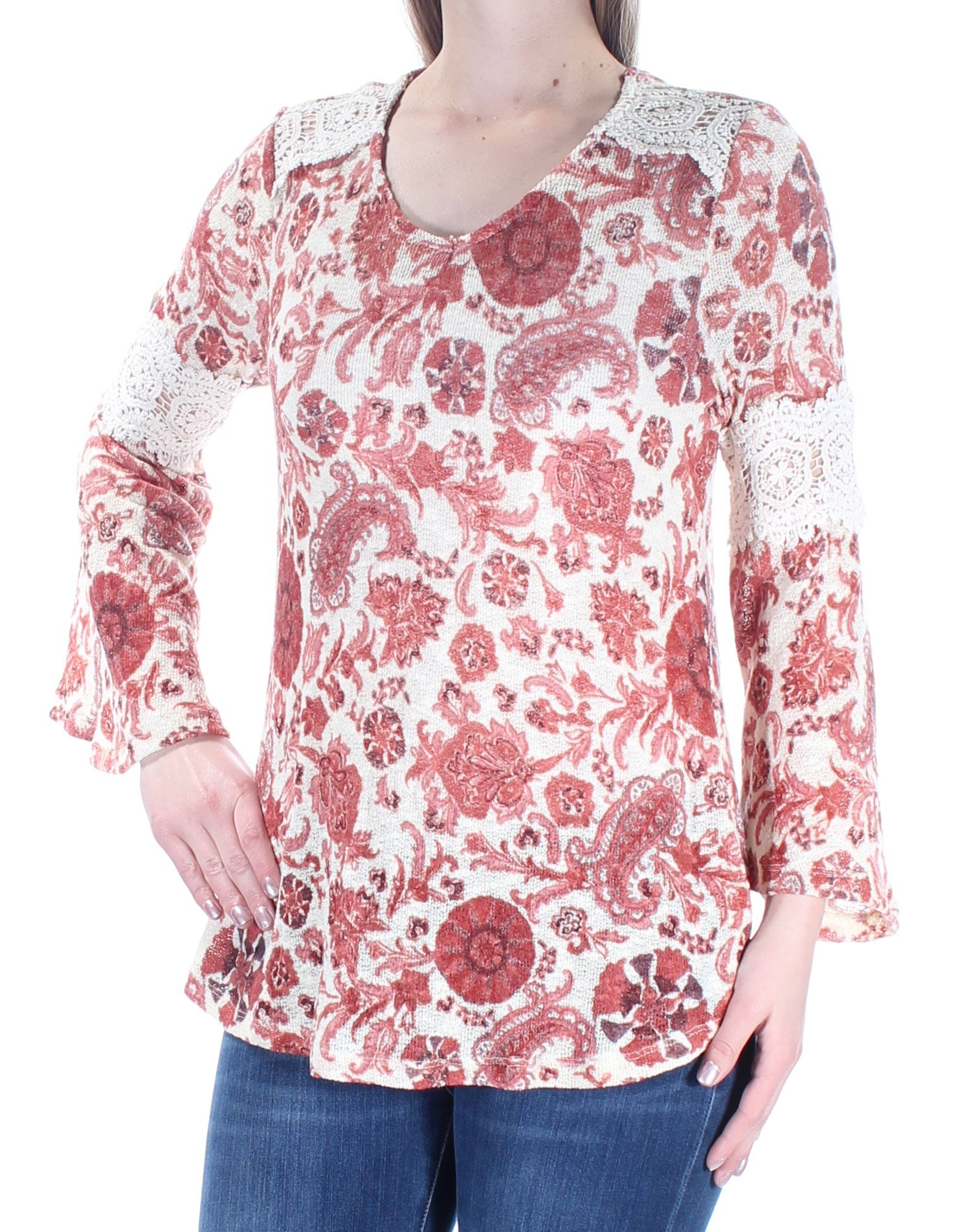 Style & Co. Petite Printed Crochet-Trim Top. Rich Auburn Cmb. P/M