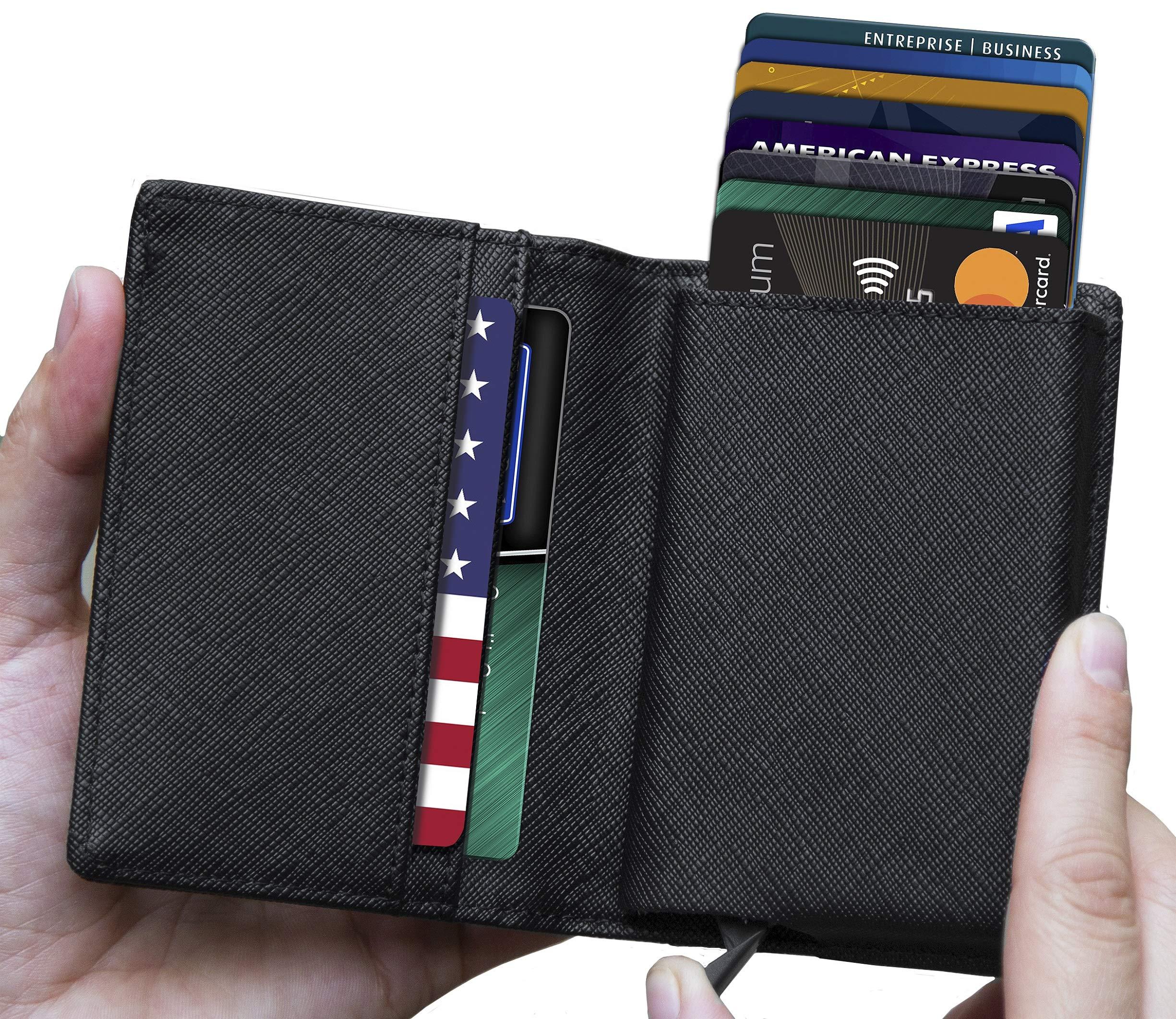 Mens Minimalist Leather Wallet RFID Blocking|+Aluminum Card Holder-Lefada Us