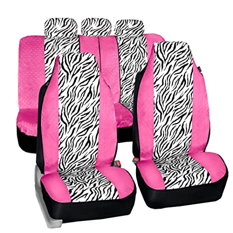 Cool Fh Fb121115 Zebra Prints Car Seat Covers Airbag Ready And Split Bench Pink White Color Machost Co Dining Chair Design Ideas Machostcouk