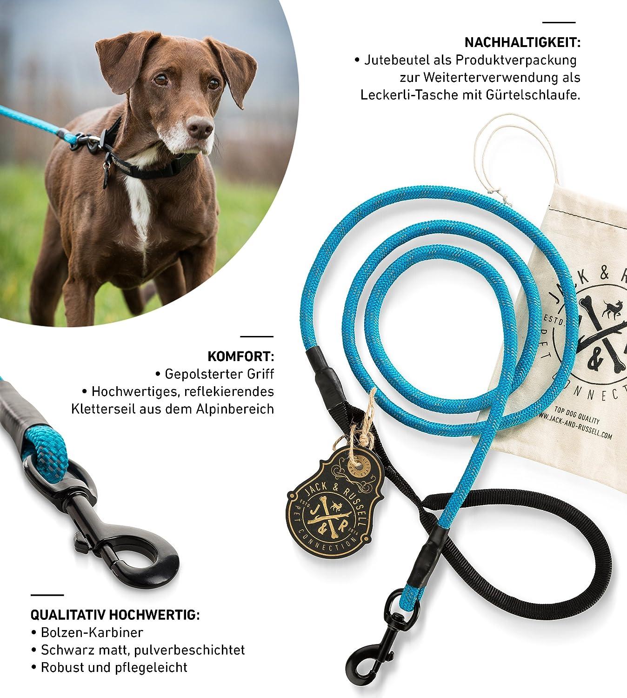 div Hunde Leine mit Soft-Grip Handschlaufe Farben inkl Jutebeutel Jack /& Russell Premium Hundeleine Tajo 1,8m aus hochwertigem Kletterseil mit Bolzenkarabiner