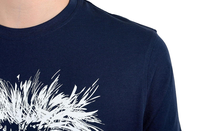 ROBERTO CAVALLI Mens Blue Graphic Lion Crewneck T-Shirt Size US M IT 50