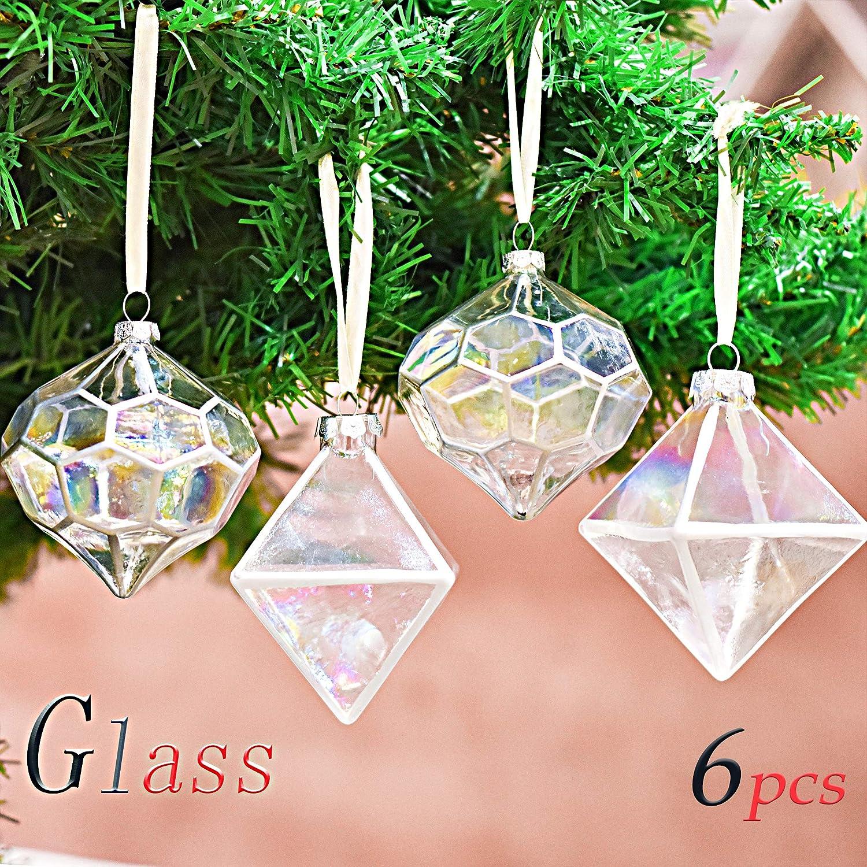 71c1fcf7d7b Valery Madelyn 6 Piezas 6cm Bolas de Navidad de Cristal Transparente  Geometría de Arco Iris Adornos de Vidrio Polígono Adornos Navideños de  Arbol para La ...