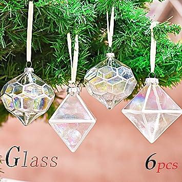 e158b0de4aaa8 Valery Madelyn 6 Piezas 6cm Bolas de Navidad de Cristal Transparente  Geometría de Arco Iris Adornos