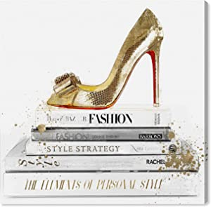 Oliver Gal 'Gold Shoe and Red Sole' The Fashion Wall Art Decor Collection Modern Premium Canvas Art Print