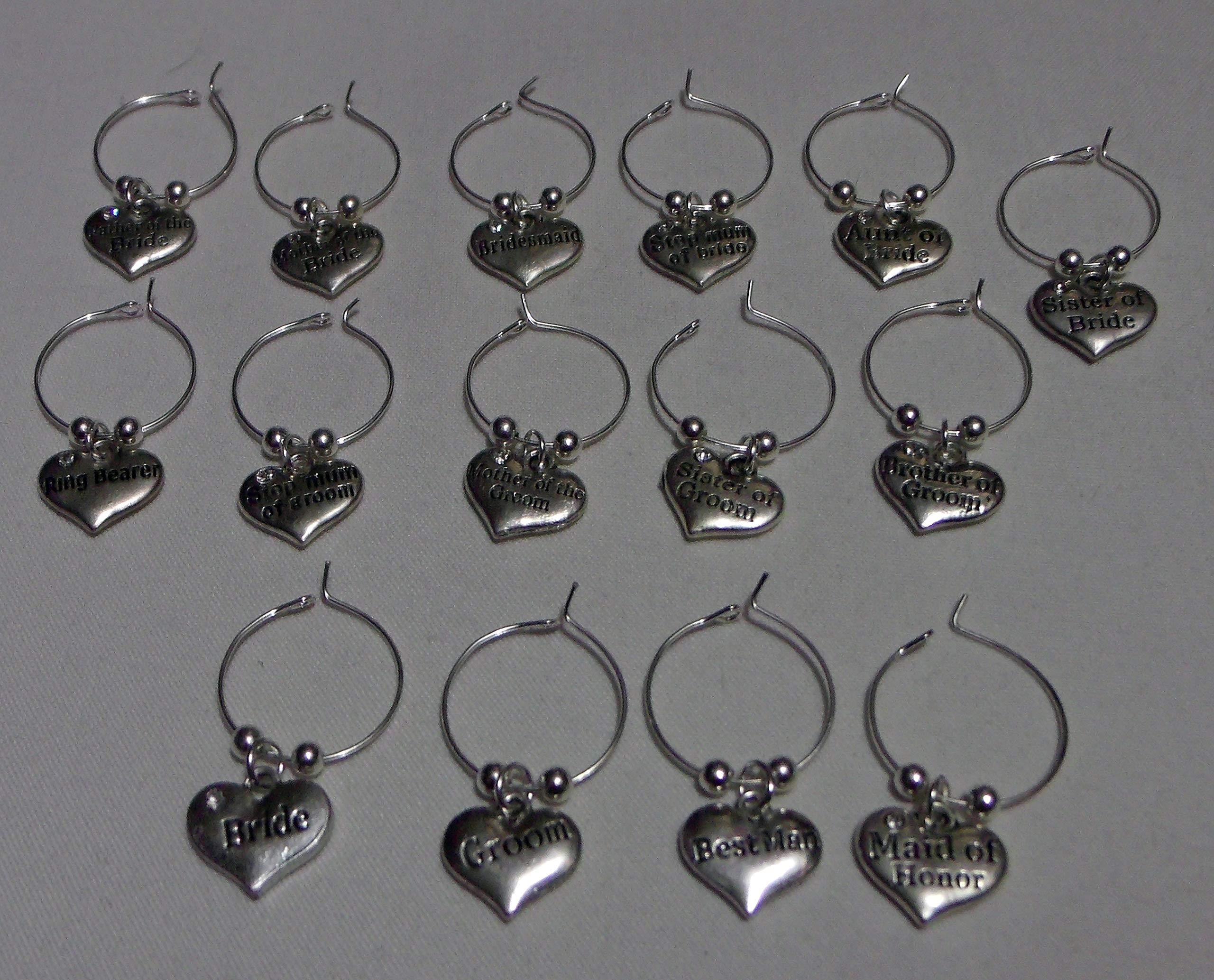 Wine Charms ~ Wedding Party Wine Charms Wine Glass Marker Set of 15 (Handmade Style 1)