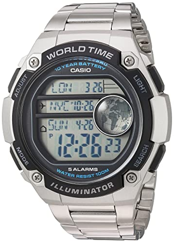 Casio Mens Classic Quartz Resin and Stainless Steel Casual Watch, Color:Silver-Toned (Model: AE-3000WD-1AVCF)