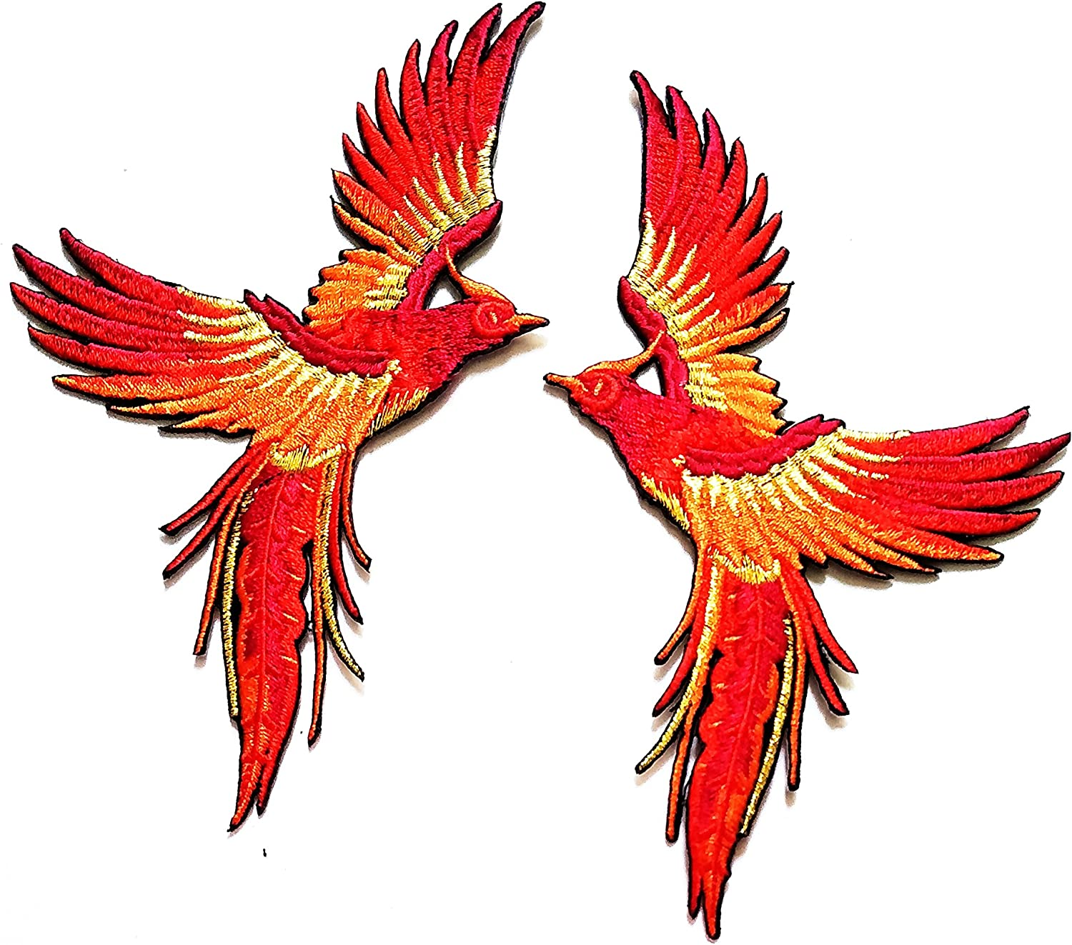 Nipitshop Patches Phoenix Phenix Birds Azure Orange Gold Embroidered Appliques Iron-on Patch for Clothes Backpacks T-Shirt Jeans Skirt Vests Scarf Hat Bag
