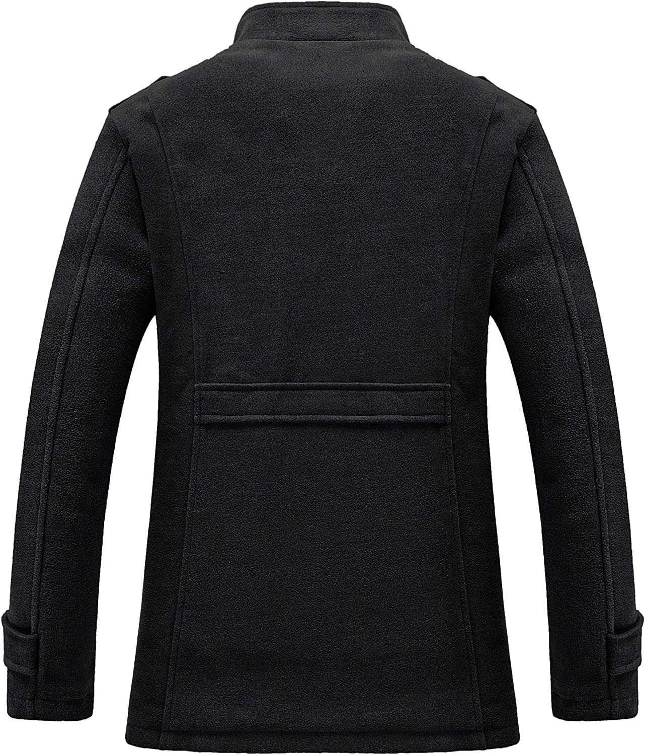RongYue Mens Winter Wool Blend Jacket Warm Windproof Pea Coat with Faux Fur Lined