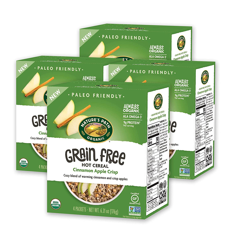 Nature's Path Organic Grain Free Hot Cereal, Cinnamon Apple Crisp, 6.21 Oz Box, 4 Count