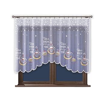 Amazon.de: WISAN Vorhang Weiß Gardine mit Kräuselband Küche ohne ...