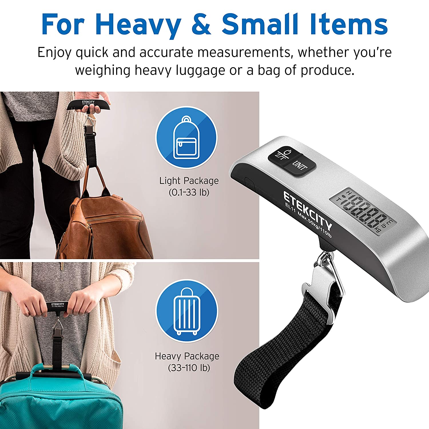 Temperature Sensor Suitcase Scale with Rubber Paint Battery Included Portable Handheld Baggage Scale for Travel Etekcity Digital Hanging Luggage Scale 110 Pounds