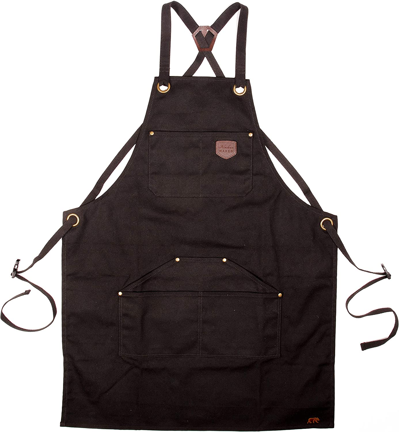Kitchen Cross Strap Fasteners Black Universal Size Gardening and Barbecue Alaskan MAKER No.515 Coated Canvas Apron for DIY Universelle