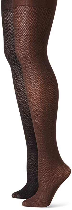 757d25c06eb Muk Luks Herringbone Microfiber Tights Women s 2 Pair Pack at Amazon  Women s Clothing store  Grey Herringbone Tights