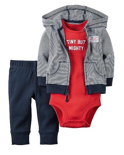 ad3c1b349 Carter's Baby Boys 3-Piece Tiny But Mighty Hoodie Set Newborn
