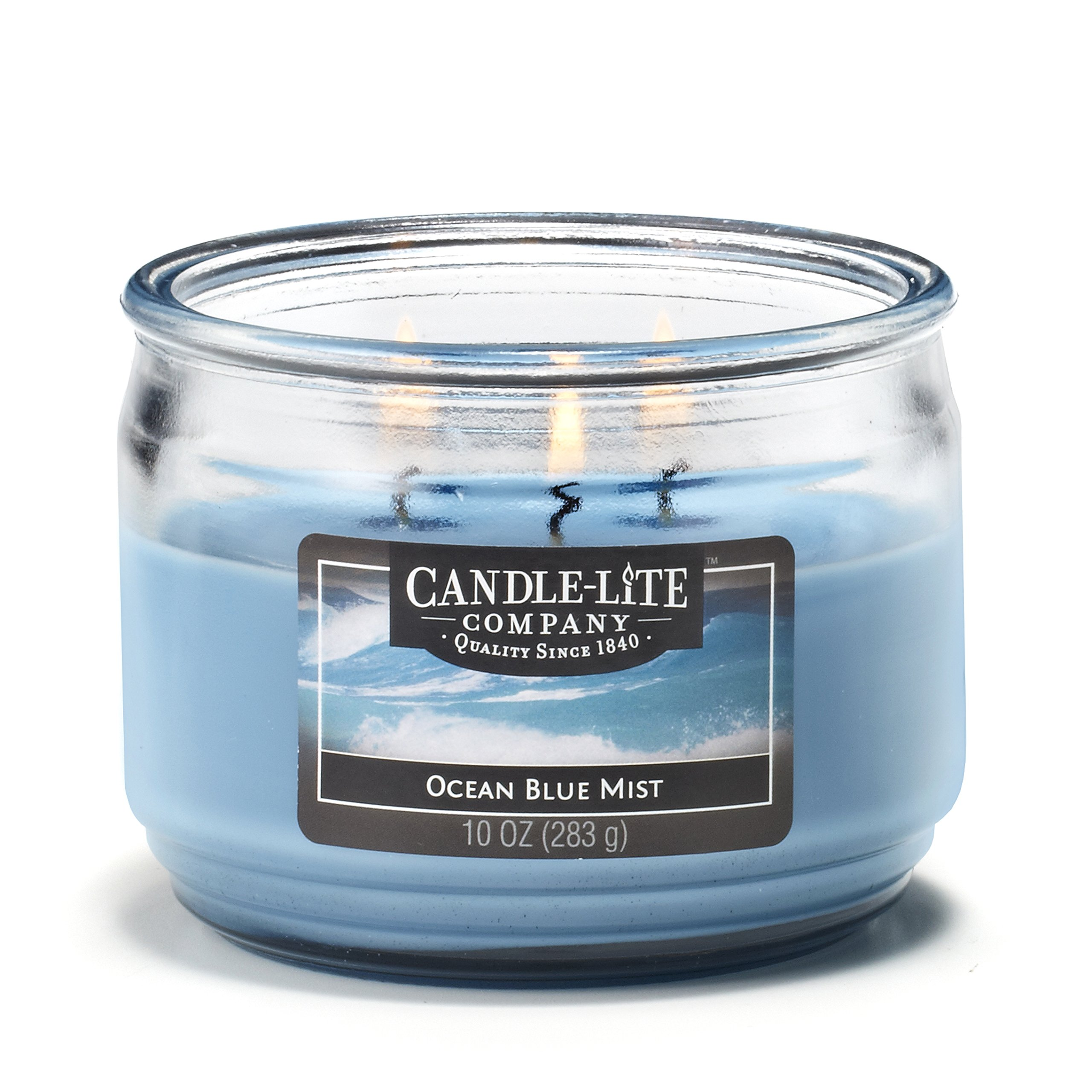 Candle-Lite Everyday Scented Ocean Blue Mist 3-Wick 10oz Medium Glass Jar Candle, Fresh Ozonic Fragrance
