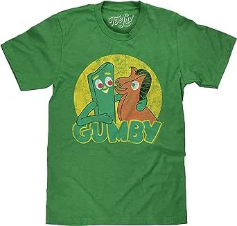 Tee Luv Gumby T-Shirt - Gumby and Pokey Cartoon Shirt (Green)