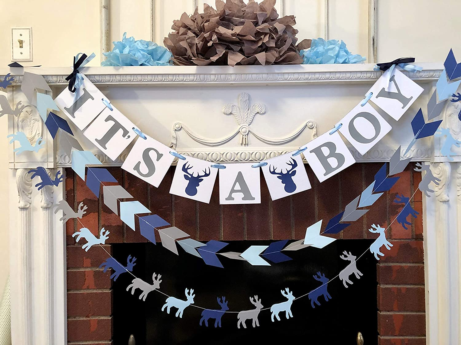 Gray Oh deer baby shower Decor Ducks Trucks and Eight Point Bucks birthday decorations Buck woodland baby shower your color choices