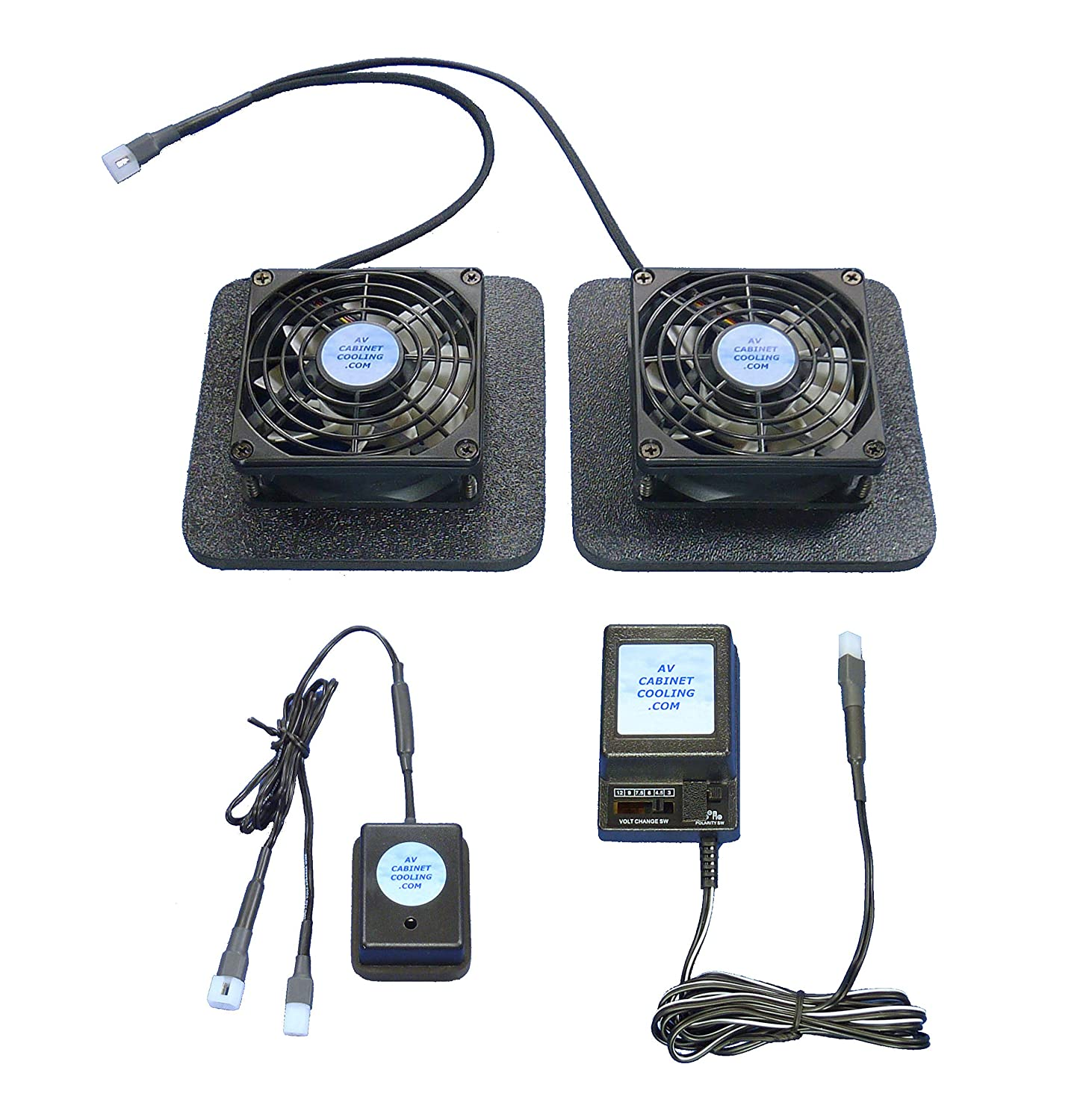 Receiver or Amplifier Cooling Fans with thermoswitch & Multi-Speed Fan Control