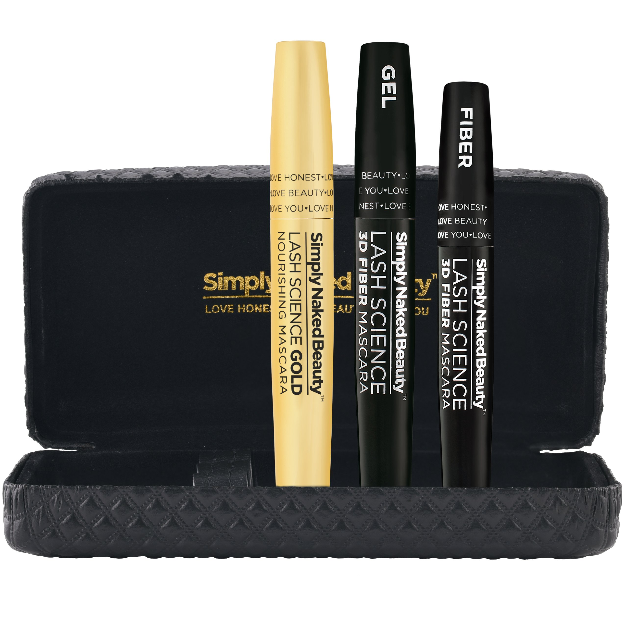 3D Fiber Lash Mascara with Eyelash Enhancing Serum by Simply Naked Beauty. Infused with Organic Castor Oil to nourish lashes and promote growth. Organic & hypoallergenic ingredients. Waterproof. Black