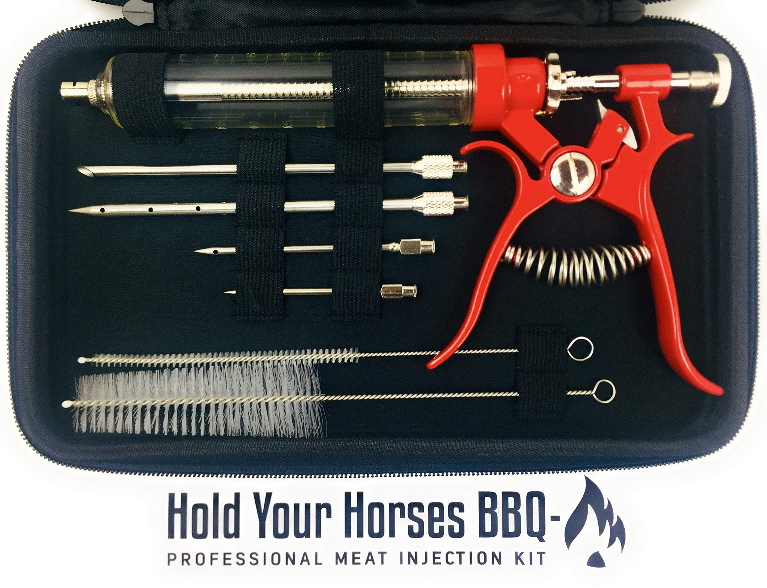 Professional Automatic BBQ Meat Marinade Injector Gun Kit with CASE, CLEANING BRUSHES, 2 oz Large Capacity Barrel and 4 Commercial Grade Marinade Needles | Hold Your Horses BBQ (red)