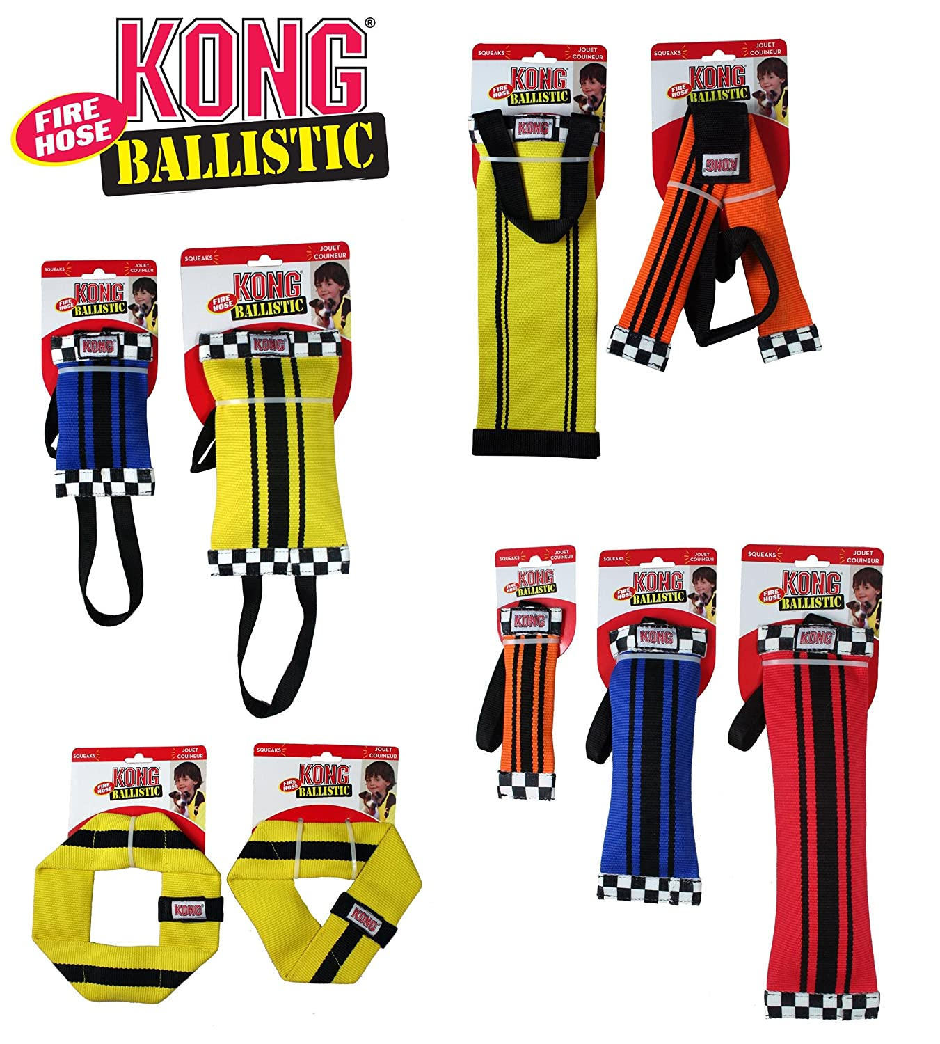 Small Kong Fire Hose Ballistic Sqwuggie Toy for Dogs