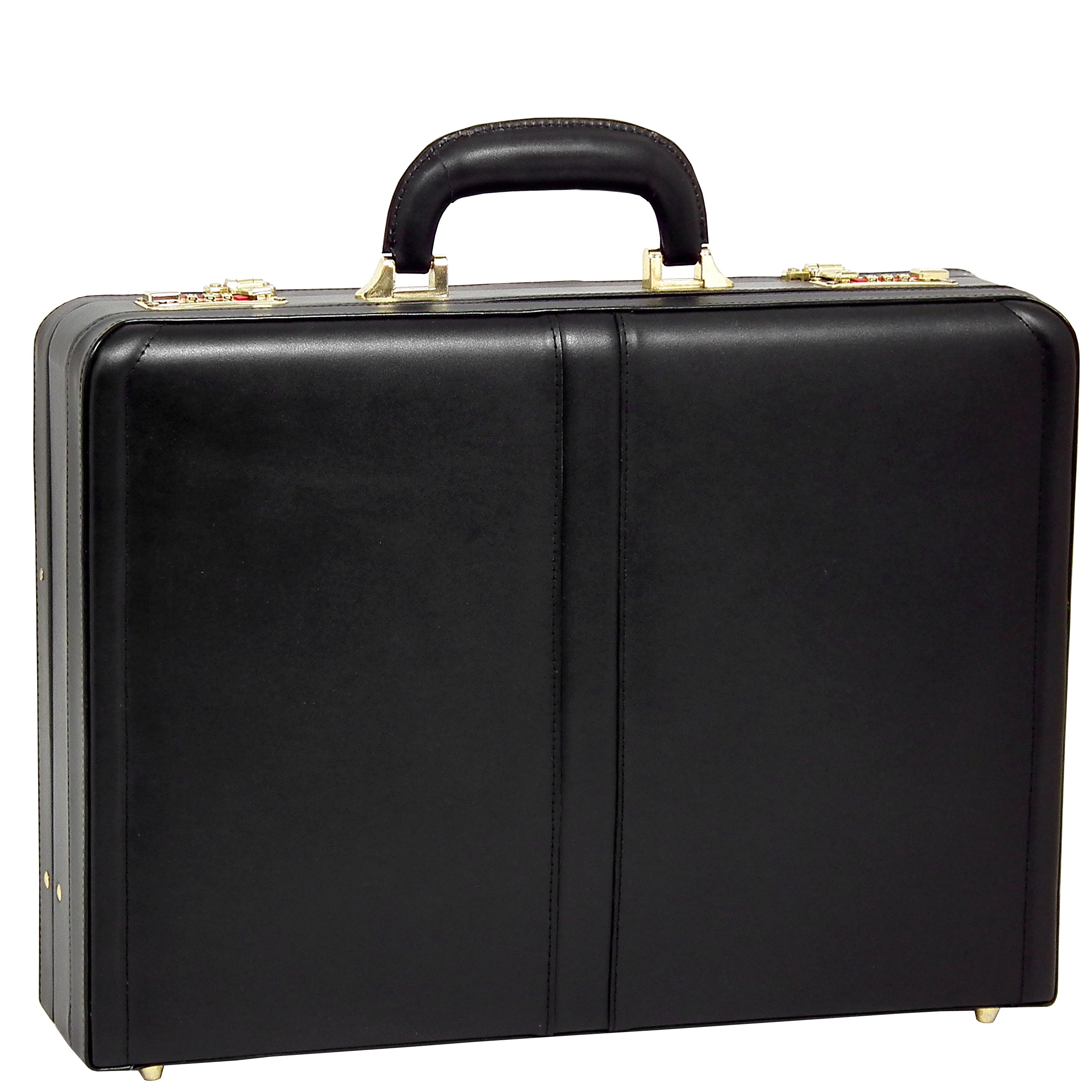McKleinUSA Harper [Personalized Initials Embossing] Leather 4.5'' Expandable Attache Briefcase in Black by McKlein