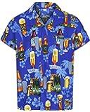 Mens Hawaiian Shirt Short Sleeve STAG Beach Holiday Beer Bottle Design Fancy Dress Hawaii - All Sizes