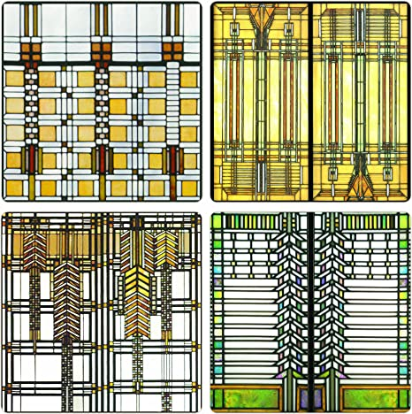 Coasterstone Absorbent Coasters 4 1 4 Inch Frank Lloyd Wright Art Glass Collection Set Of 4 Coasters