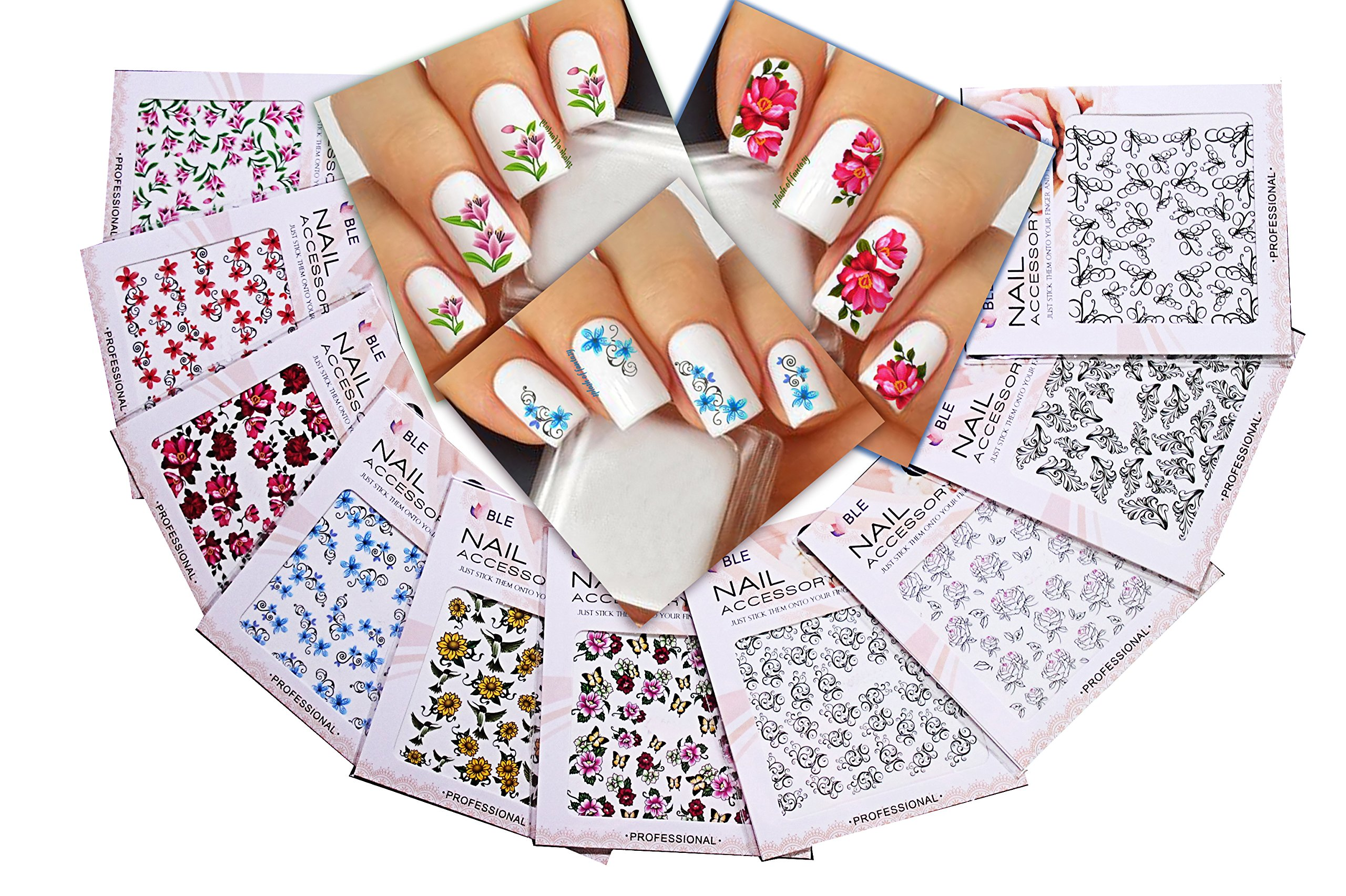 Nail Art Water Slide Tattoo Stickers Decals ♥ Immense Designs: Flowers / Leaves / Butterflies / Humming Birds / ♥ For an Elegant Manicure 10 - Pack /LDII/