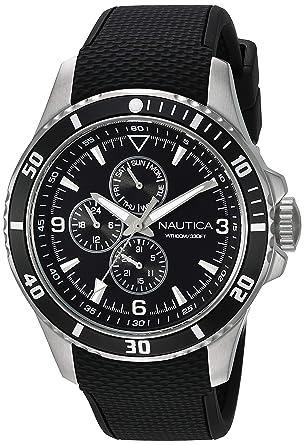 Silikon Nautica Schwarz Herren Analog Quarz Armband Armbanduhr 44mm SUpzMV