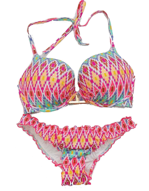 bddf5eb78a218 Amazon.com: Victoria's Secret Bikini Swimsuit Bundle Set of 2. Bombshell  Bikini Top 34D and The Ruffle Cheeky Medium Bikini Bottoms NWT: Clothing