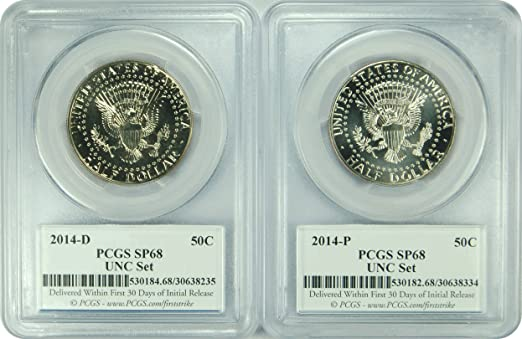 2014-D//P PCGS SP68 Kennedy Half Dollar FIRST STRIKE