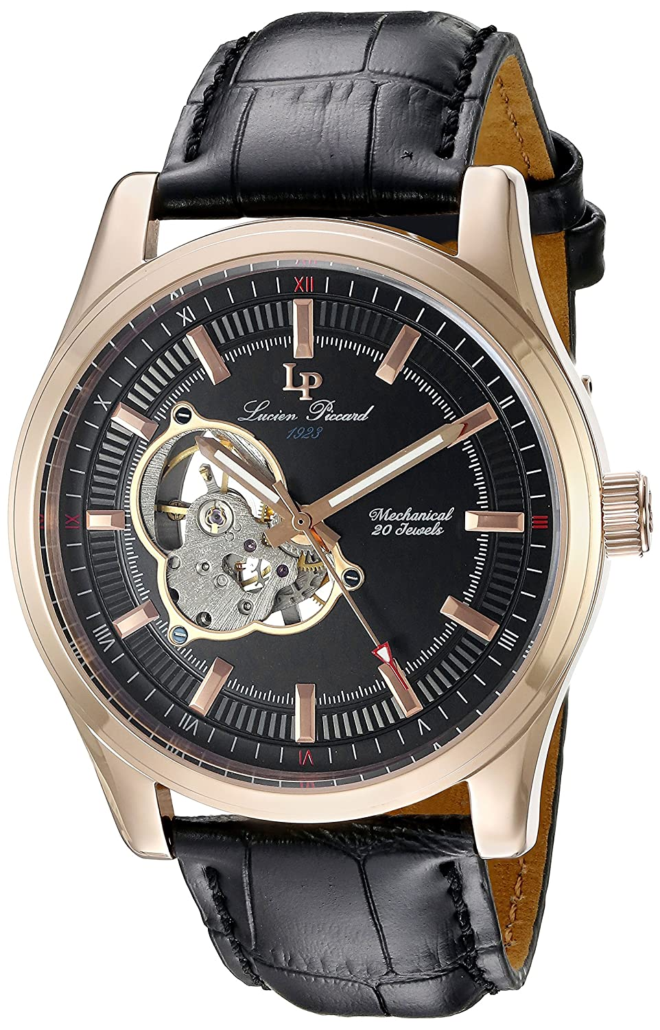 Amazon.com: Lucien Piccard Men's LP-40006M-RG-01 Morgana Rose Gold-Tone  Hand-Wind Watch with Black Leather Band: Watches