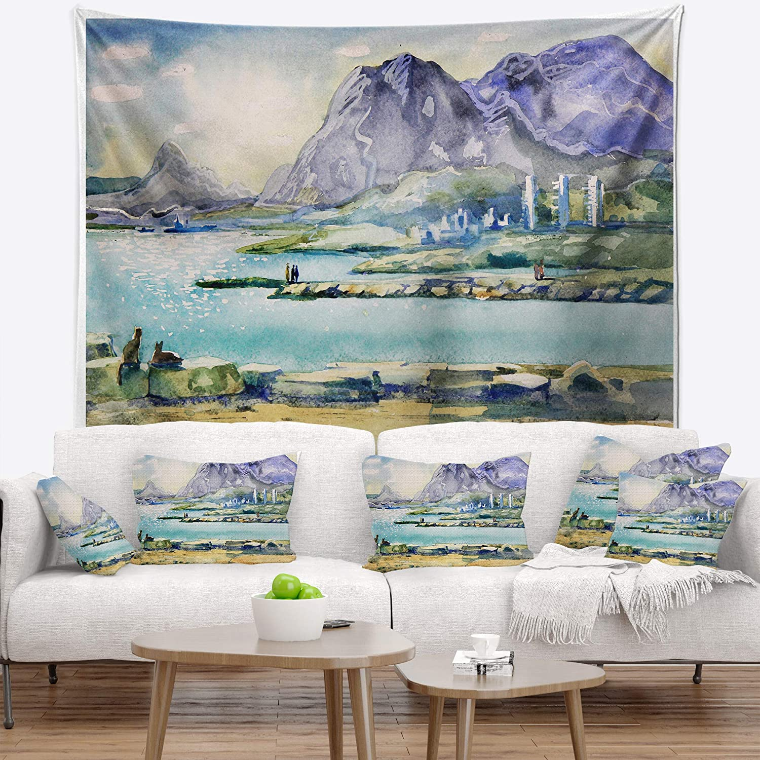 Created On Lightweight Polyester Fabric X 68 In 80 In Designart Tap6365 80 68 Watercolor Blue Hills Landscape Blanket Décor Art For Home And Office Wall Tapestry X Large