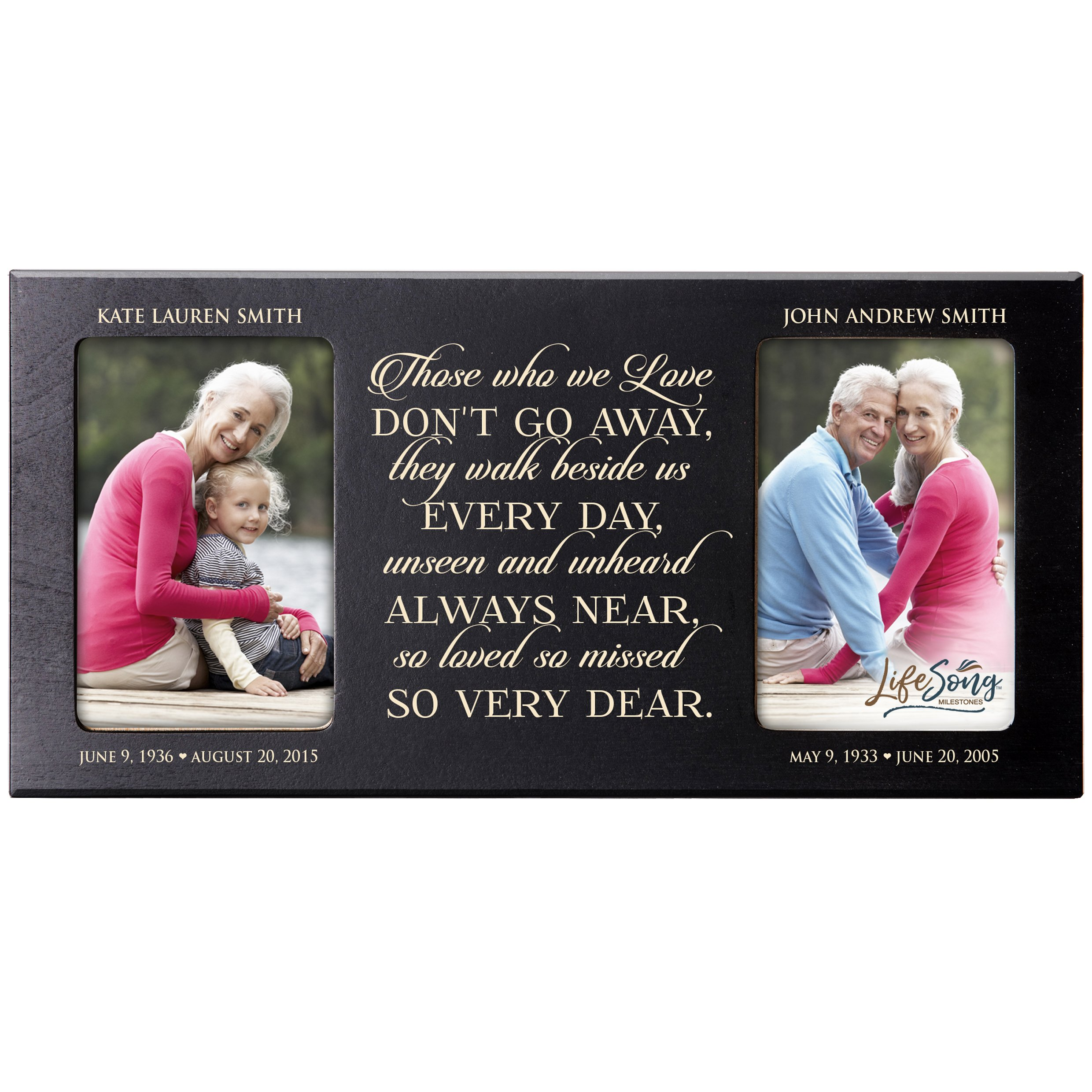 Personalized Memorial Sympathy Picture Frame, Those Who We Love Don't Go Away They Walk Beside Us Every Day, Custom Frame Holds Two 4x6 Photos, Made In USA by LifeSong Milestones (Black)