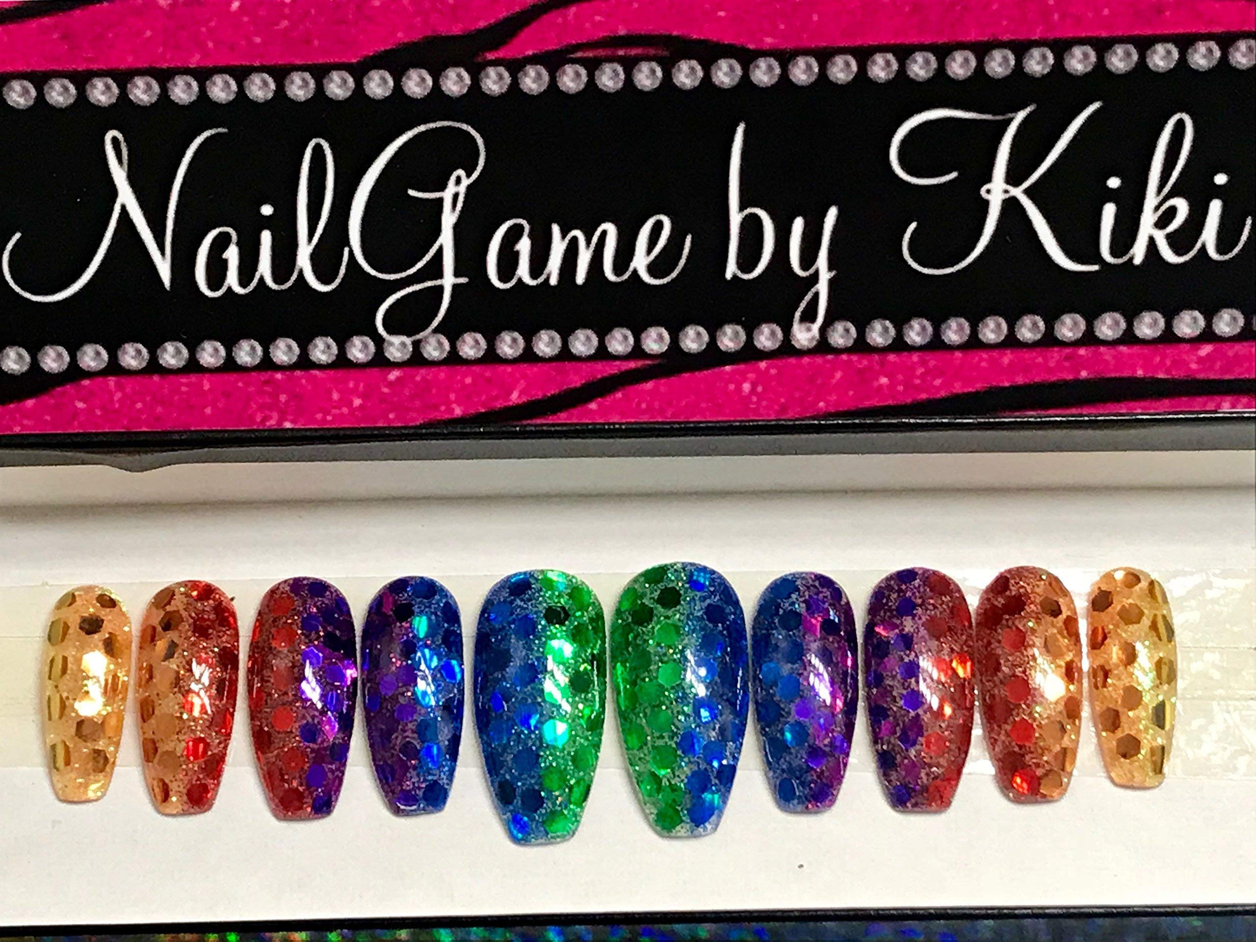 Rainbow Vibe Hand Designed Press-on Nails Handmade Nail Set