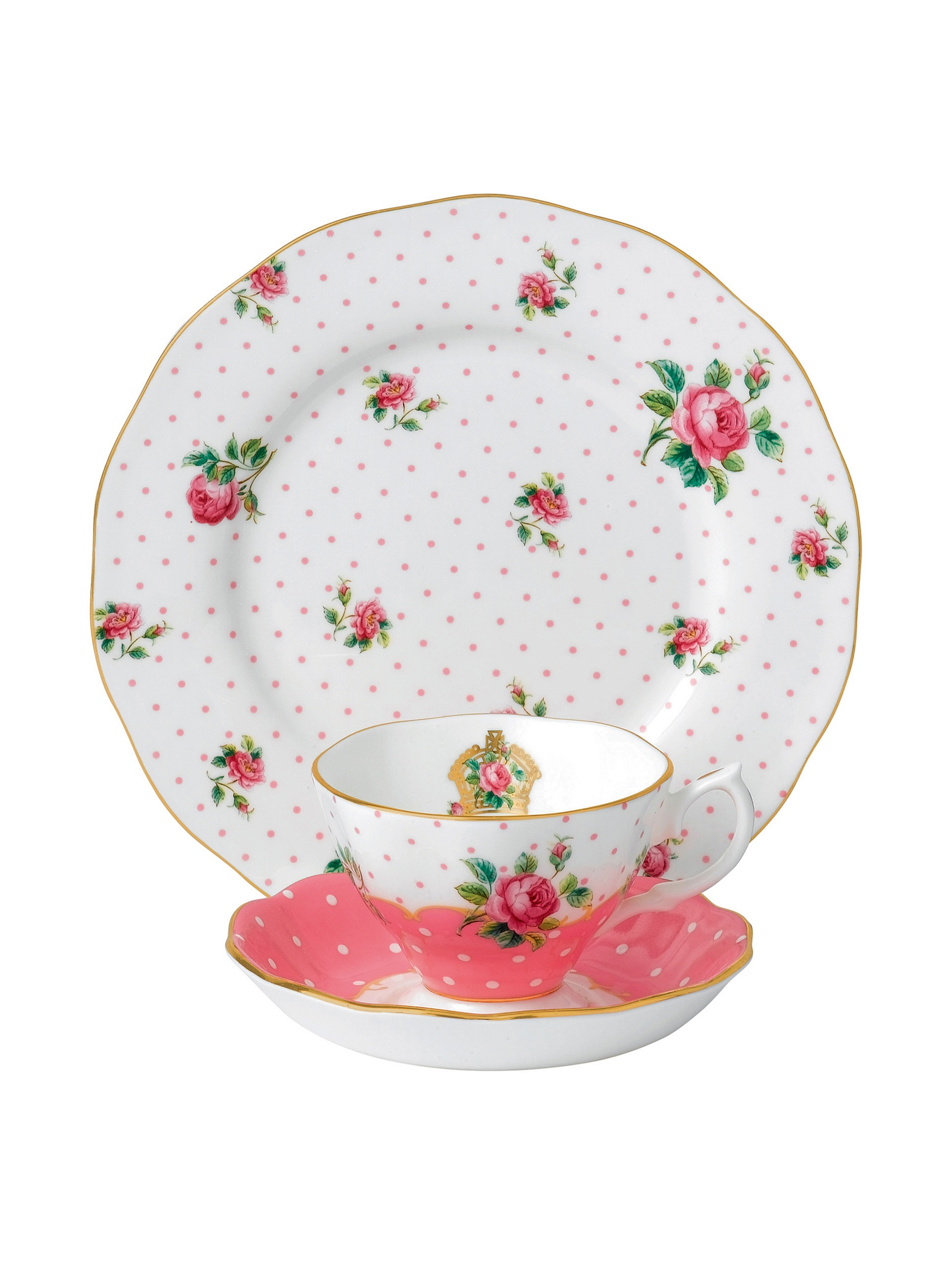 New Country Roses Cheeky Pink 3 Piece Set (Teacup, Saucer, Plate) by Royal Albert, Mostly White with Multicolored Floral Print, 12.00 x 2.80 x 11.00 inches (CHEPNK26586)