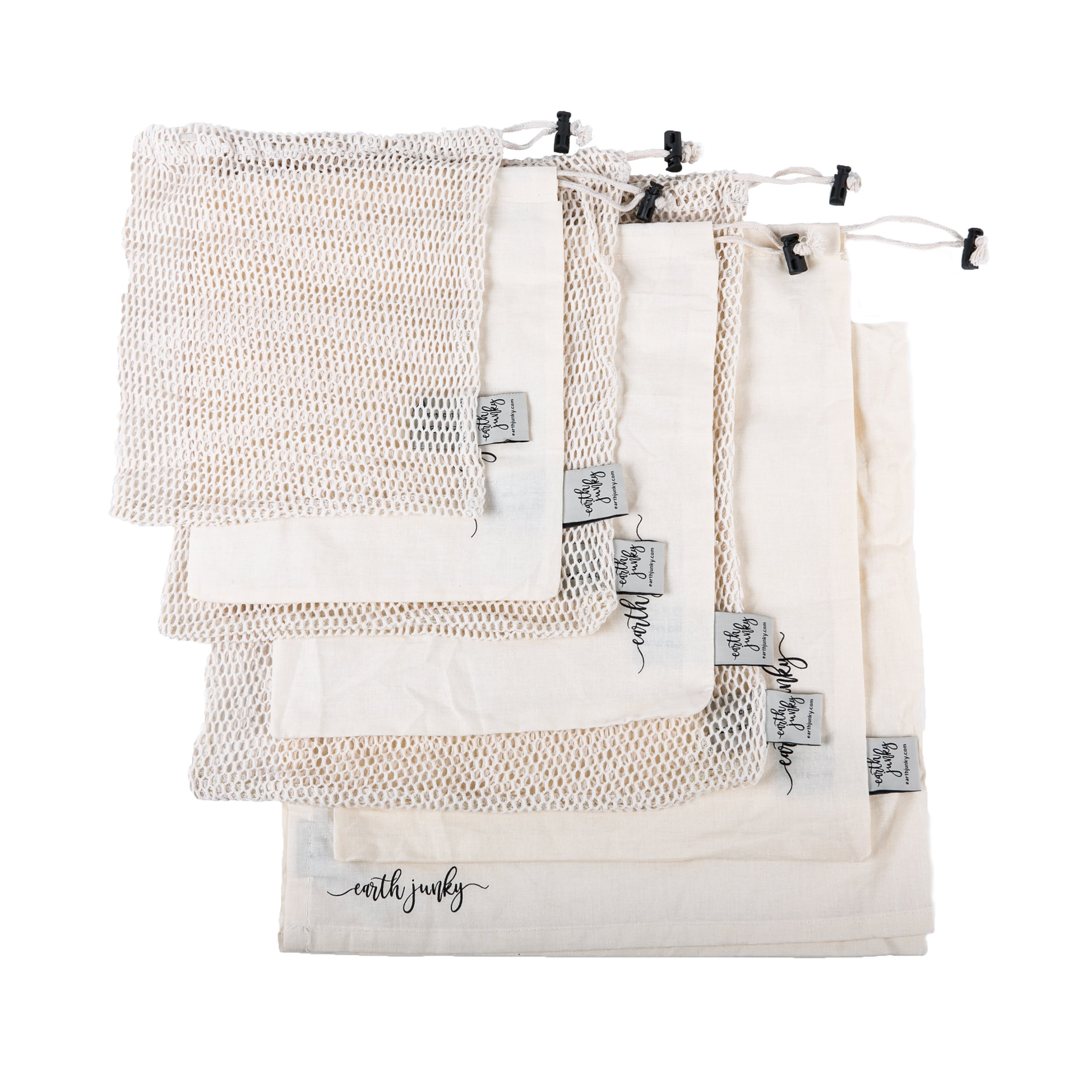 BEST REUSABLE PRODUCE BAGS for Grocery Shopping & Storage, 7 pc Set w/ BONUS Swaddle Sheet for Safe Freshness, 6 Eco-Friendly Organic Muslin Cotton Drawstring & Premium Mesh Bag Set, Washable