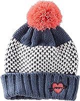 Oshkosh Little Girls' Knit Pom Pom Hat (4-6x, Charcoal Orange)