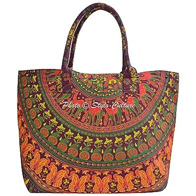 Amazon.com: Mandala Indio sobre el hombro bolso granate ...