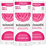 Schmidt's Aluminum Free Natural Deodorant for Women and Men, Rose + Vanilla with 24 Hour Odor Protection, Certified Cruelty F