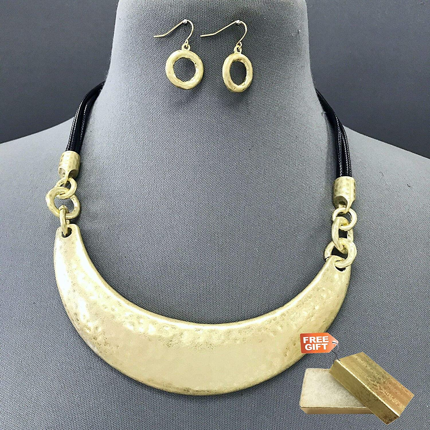 Gold Finished Multi Black Strings Half Circle Moon Shapes Necklace /& Earring Set For Women Gold Cotton Filled Gift Box for Free