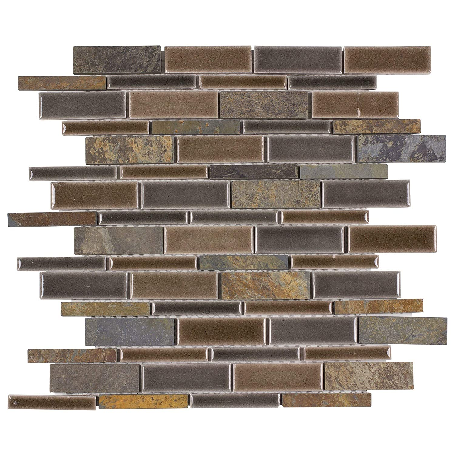 MTO0236 | Classic Linear Brown Grey Porcelain Stone Mosaic Tile Mosaic Tile Outlet