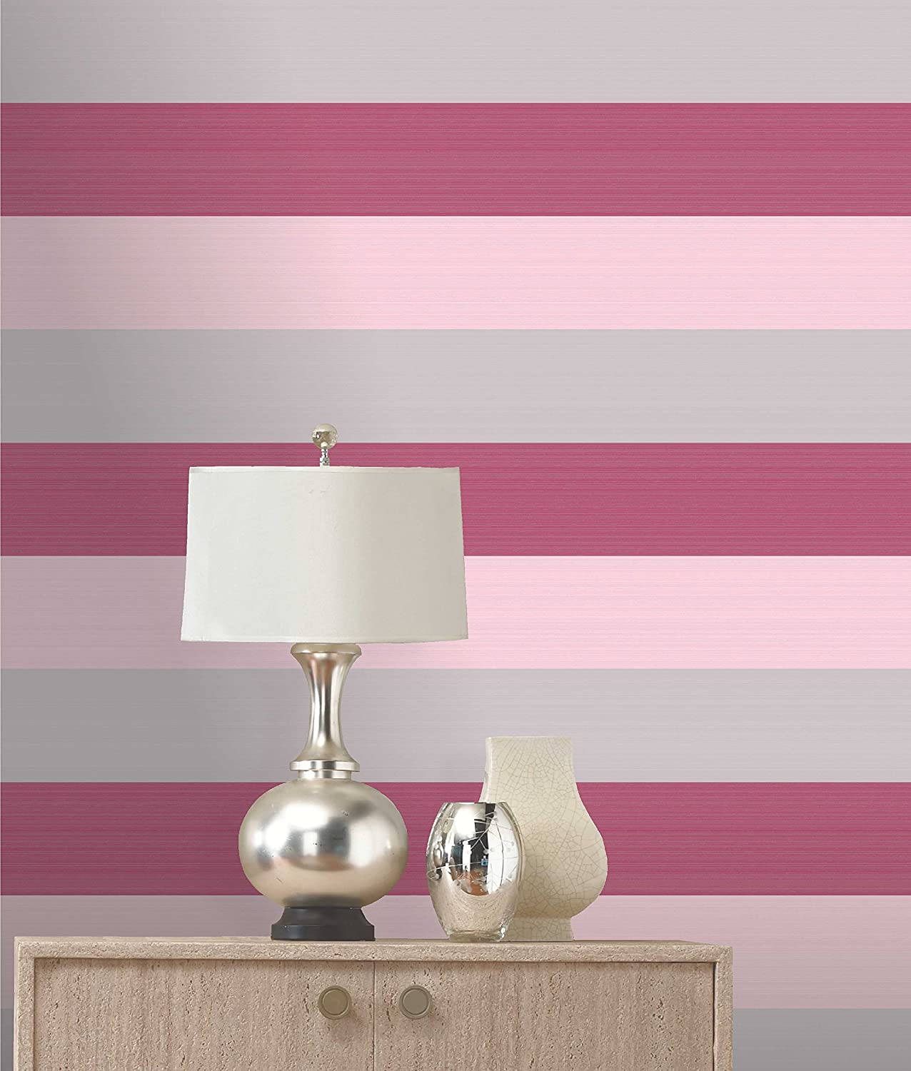 Olivia II Pink Cerise Silver Striped Wallpaper 6162 Amazoncouk DIY Tools